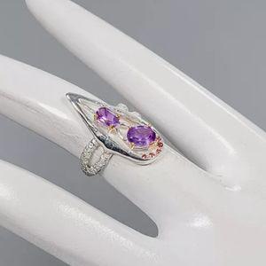 Stunning Amethyst &Rhodolite sterling ring sz6.5